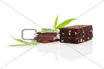 Cannabis chocolate and brownie.