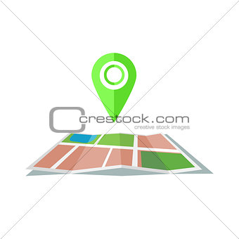 Green marker with flat map