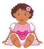 Cute African American baby girl in pink dress Happy princes Vector