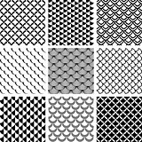Seamless patterns set with fish scale motif.
