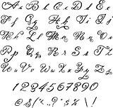 Elegant black font. Vintage letters