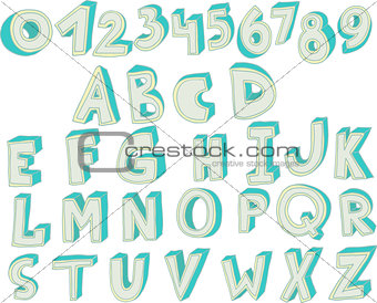 3D font. Big colorful letters standing. Vector font