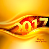 Happy New Year background with gold wave