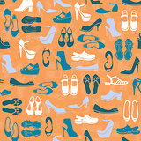 pattern with multicolor different kinds of shoes