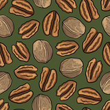 Seamless nature background with walnuts.