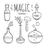 Magic glass bottles set. Hand drawn bottles isolated on white background. Doodle collection. Magic glass bottles collection for coloring books