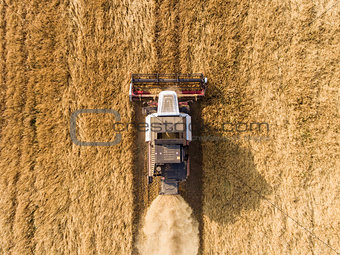 air shot of harvester on the wheat field
