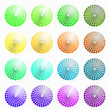 a set of circular colored green, yellow vector illustration