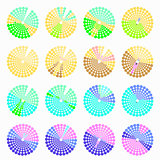 Set circular color different shades green vector illustration