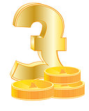 Sign pound sterling and coins