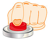 Finger on red button