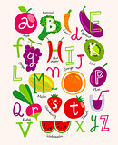 Cute vector vegetarian alphabet with fruits and vegetables