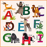 Kids vector Zoo alphabet with animals. Part 1.
