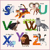 Kids vector Zoo alphabet with animals. Part 3.