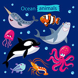 cartoon ocean animals on a dark background
