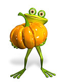 Frog with a pumpkin