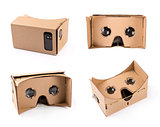 cardboard virtual reality glasses for smartphones isolated on wh