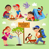 Spring and summer child's outdoor activities. Summer camp.
