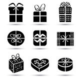 Gift box black icon set different styles