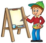 Boy painting on canvas 1