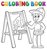 Coloring book boy painting on canvas