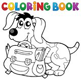 Coloring book dog with schoolbag theme 2