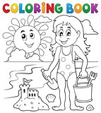 Coloring book girl playing on beach 1