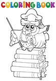 Coloring book owl teacher theme 2