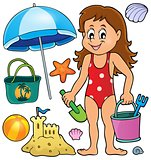 Girl and beach related objects theme set