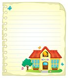 Notepad page with school building 1