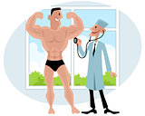 Doctor examines bodybuilder