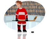 Hockey player on rink