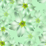 green flowers seamless