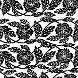 Seamless vector background, wallpaper, floral ornament with leaves and flowers.