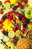 Fresh smoothies and fruits