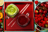 Healthy smoothies with fresh ingredients