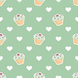 Tile vector pattern with cupcake and hearts on mint green background