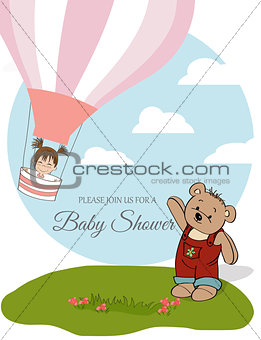 baby girl shower card with hot air balloon