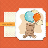 birthday card with teddy bear and balloons