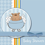 baby boy shower card with little  teddy bear