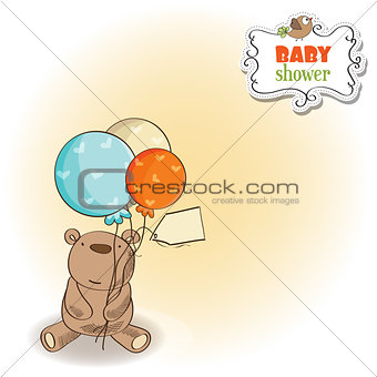 baby shower card with little  teddy bear