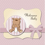 baby girl shower card with little  teddy bear