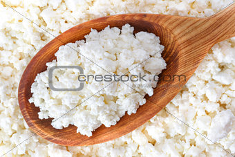 crumbly cottage cheese in the wooden spoon