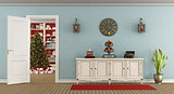Retro living room with christmas decoration