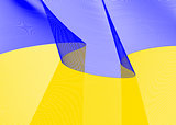 Festive flag, banner with ,  beautiful fluttering in the wind,  Republic of Ukraine,  isolated,  on a white background