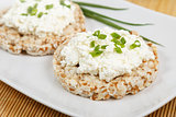 crisp breads with cottage cheese and onion