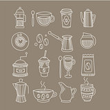 Coffee Related Sketch Drawings Set