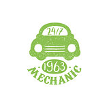Mechanic Green Vintage Stamp
