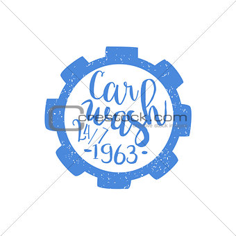 Carwash Blue Vintage Stamp