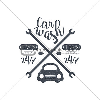 Carwash Black Vintage Stamp